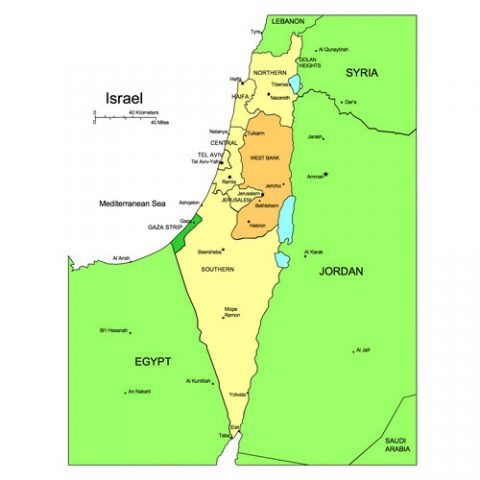 Israel Map for PowerPoint, Administrative Districts, Capitals