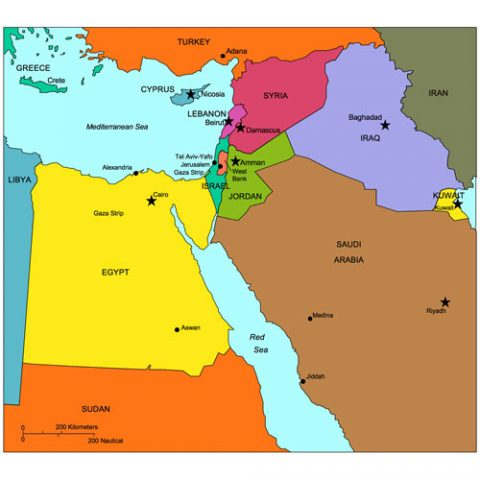 Israel and Middle East Regional PowerPoint Map, Countries, Names