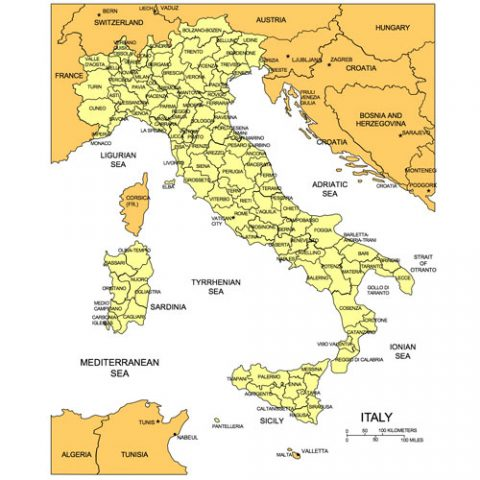 Italy Map for PowerPoint, Administrative Districts, Capitals