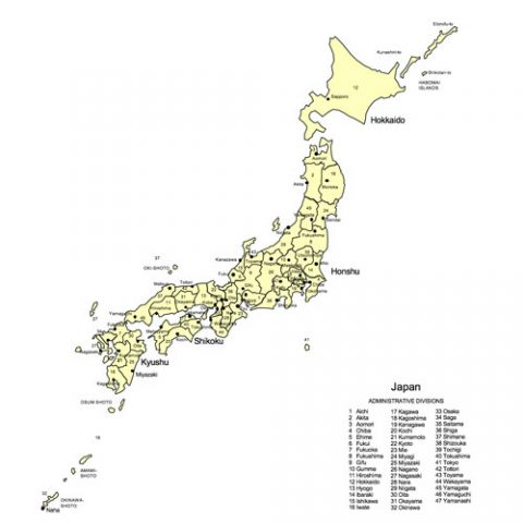 Japan Map for PowerPoint, Administrative Districts, Capitals