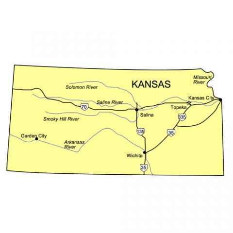 Kansas US State PowerPoint Map, Highways, Waterways, Capital and Major Cities
