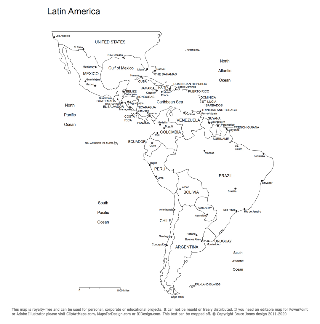 Latin American outline map with countries and names, includes South America, Central America country names and cities