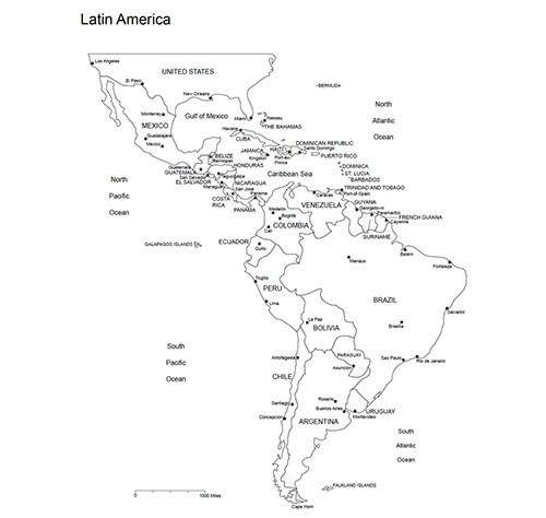 Latin America Regional Printable PDF and Editable PowerPoint Map, Countries, Names