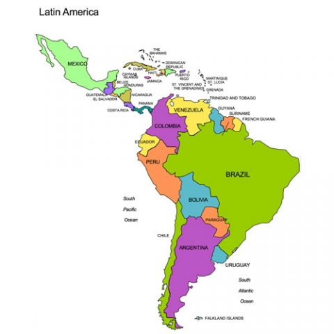 Latin America Regional PowerPoint Map, Countries, Names