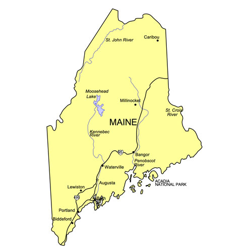 Maine US State PowerPoint Map, Highways, Waterways, Capital and Major Cities