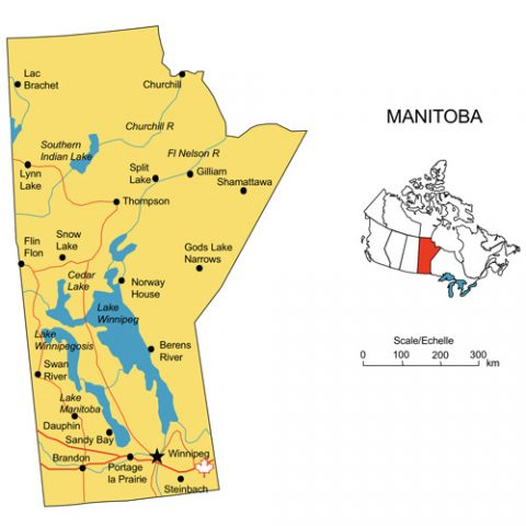 Manitoba, Canada Province PowerPoint Map, Highways, Waterways, Cities