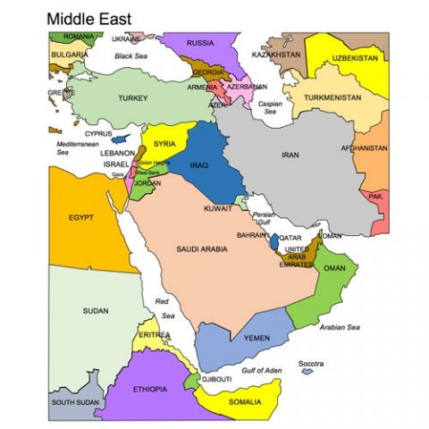 Middle East Regional PowerPoint Map, Countries