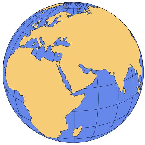 Middle East Global Projection PowerPoint Map