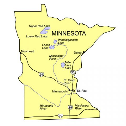 Minnesota US State PowerPoint Map, Highways, Waterways, Capital and Major Cities