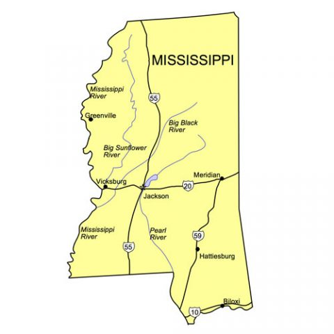 Mississippi US State PowerPoint Map, Highways, Waterways, Capital and Major Cities