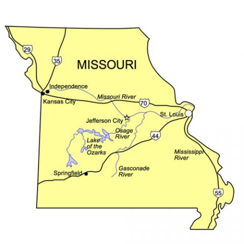 Missouri US State PowerPoint Map, Highways, Waterways, Capital and Major Cities