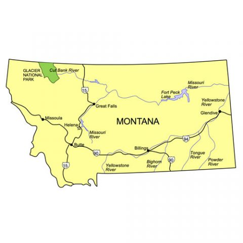 Montana US State PowerPoint Map, Highways, Waterways, Capital and Major Cities