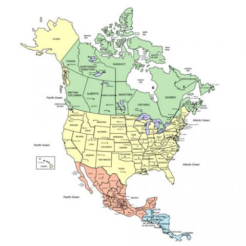 North America, Canada, USA and Mexico PowerPoint Map, States and Provinces