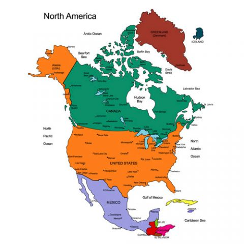 North America Regional PowerPoint Map, USA, Canada, Mexico, Greenland, Iceland, Cities, Capitals