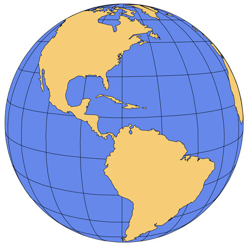 North/South America Global Projection-PowerPoint Map