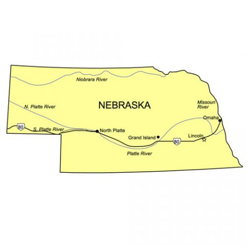 Nebraska US State PowerPoint Map, Highways, Waterways, Capital and Major Cities