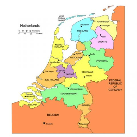 Netherlands Map for PowerPoint, Administrative Districts, Capitals