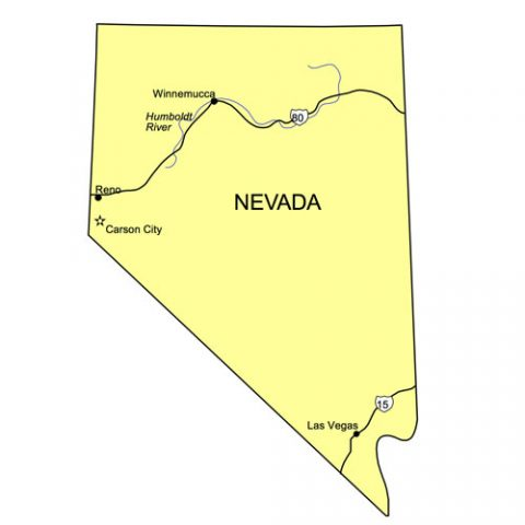 Nevada US State PowerPoint Map, Highways, Waterways, Capital and Major Cities