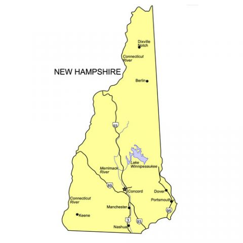 New Hampshire US State PowerPoint Map, Highways, Waterways, Capital and Major Cities