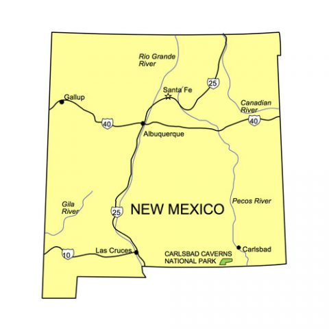 New Mexico State PowerPoint Map, Highways, Waterways, Capital and Major Cities