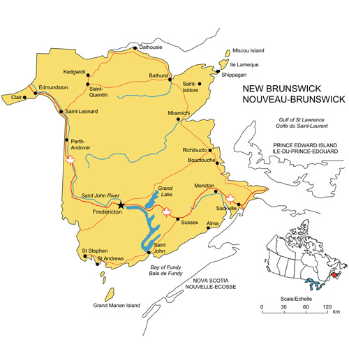 New Brunswick, Canada Province PowerPoint Map, Highways, Waterways, Cities