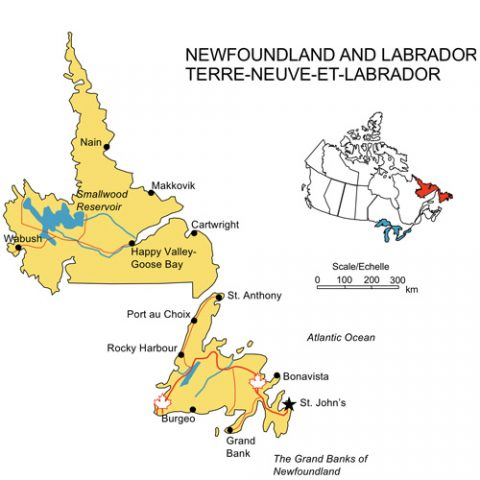 Newfoundland and Labrador, Canada Province PowerPoint Map, Highways, Waterways, Cities