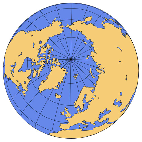 North Pole Global Projection PowerPoint Map