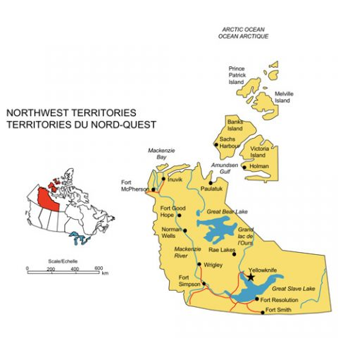 Northwest Territories, Canada Province PowerPoint Map, Highways, Waterways, Cities