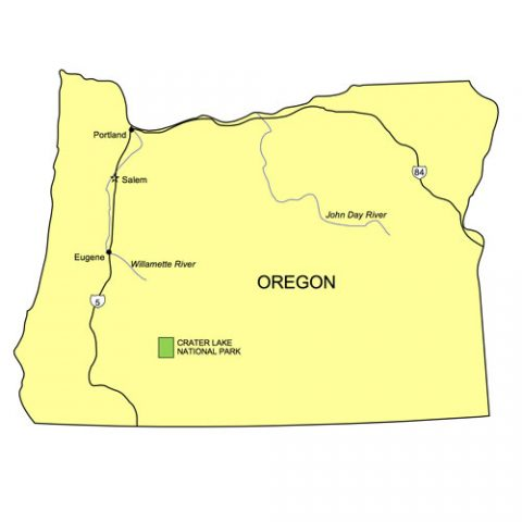 Oregon US State PowerPoint Map, Highways, Waterways, Capital and Major Cities