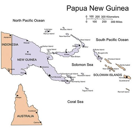 Papua New Guinea Map for PowerPoint, Islands, Capital