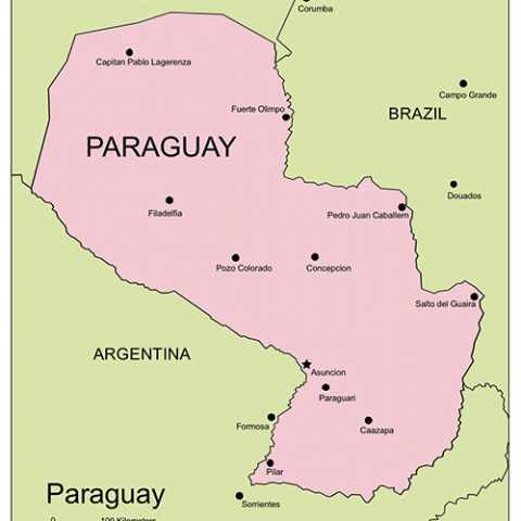 Paraguay Map PowerPoint Map, Major Cities and Capital