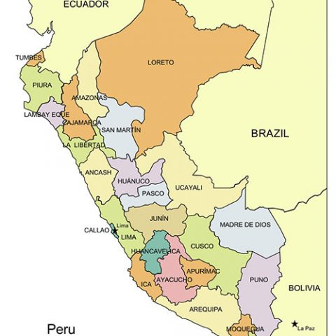 Peru Map for PowerPoint, Administrative Districts, Capitals