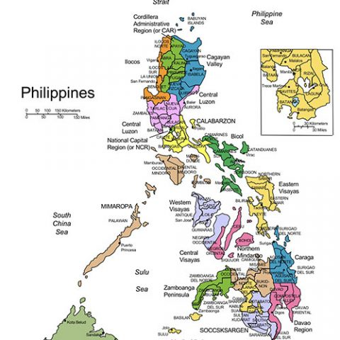 Philippines Map for PowerPoint, Administrative Districts, Capitals