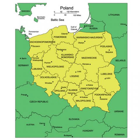 Poland Map for PowerPoint, Administrative Districts, Capitals
