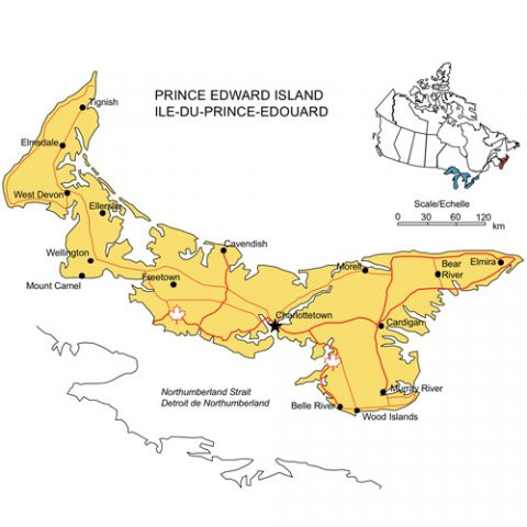 Prince Edward Island, Canada Province PowerPoint Map, Highways, Waterways, Cities