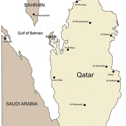 Qatar Map for PowerPoint, Major Cities and Capital
