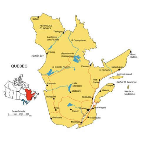 Quebec, Canada Province PowerPoint Map, Highways, Waterways, Cities
