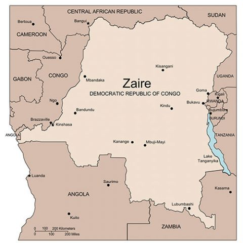 Zaire, Democratic Republic of Congo Map for PowerPoint, Major Cities and Capital