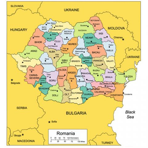 Romania Map for PowerPoint, Administrative Districts, Capitals