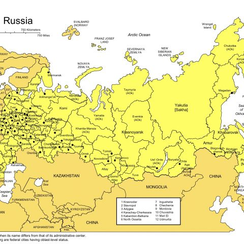 Russia Map for PowerPoint, Administrative Districts, Capitals