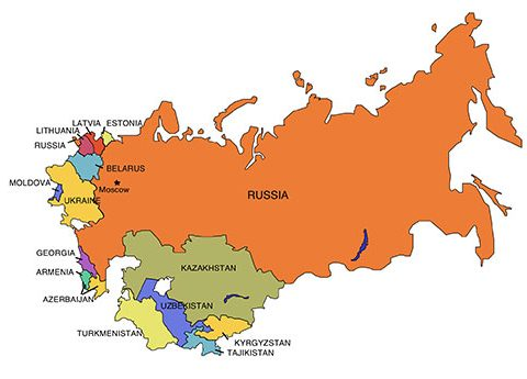 Russia Map for PowerPoint, with Surrounding Countries