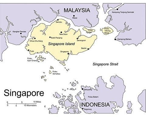 Singapore Map for PowerPoint, Major Cities and Capital