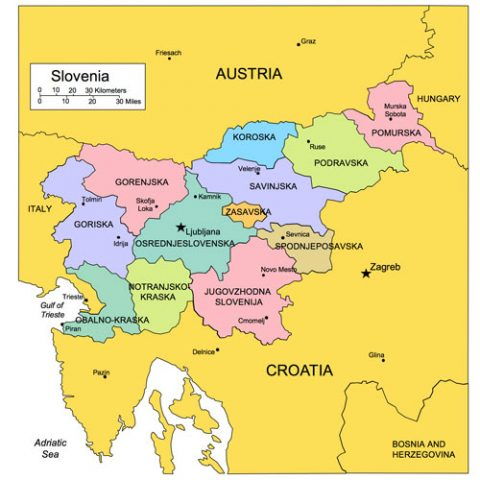 Slovenia Map for PowerPoint, Administrative Districts, Capitals