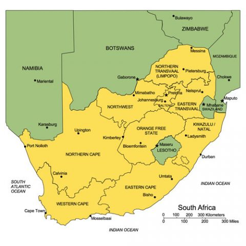 South Africa Map for PowerPoint, Administrative Districts, Capitals