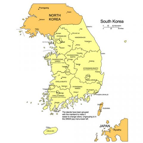South Korea Map for PowerPoint, Administrative Districts, Capitals