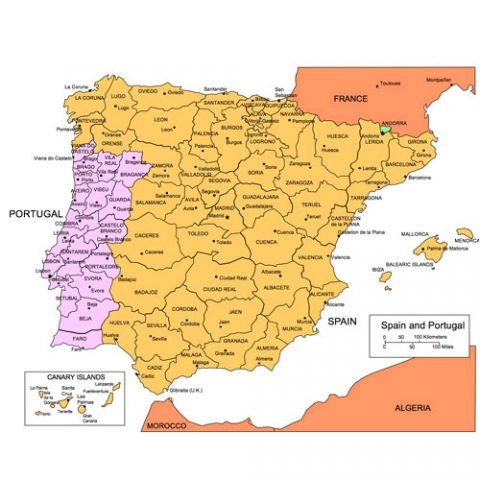 Spain and Portugal Maps for PowerPoint, Administrative Districts, Capitals