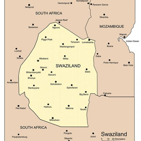 Swaziland Map for PowerPoint, Major Cities and Capital