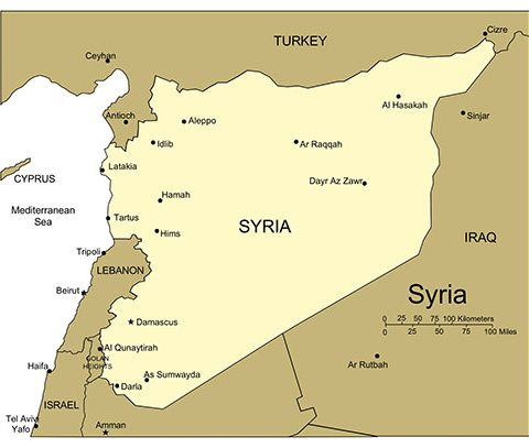 Syria Map for PowerPoint Map, Major Cities and Capital