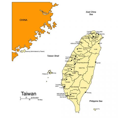 Taiwan Map for PowerPoint, Administrative Districts, Capitals
