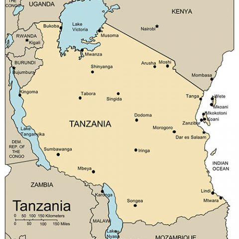 Tanzania Map for PowerPoint, Major Cities and Capital
